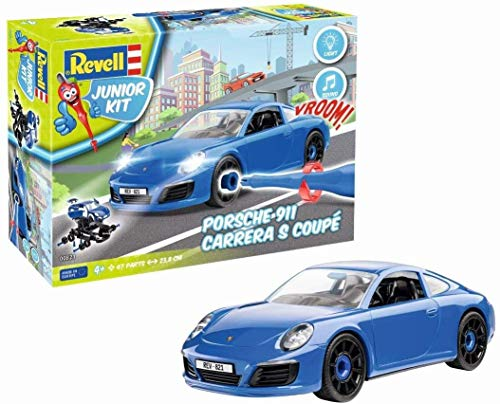 Revell Junior Kit 821 Porsche 911 Carrera S 4 robust zum Basteln und Spielen im Maßstab 1:20 Level 1Modellbausatz für Kinder zum Schrauben 00821, bunt, Länge ca. 23,8 cm
