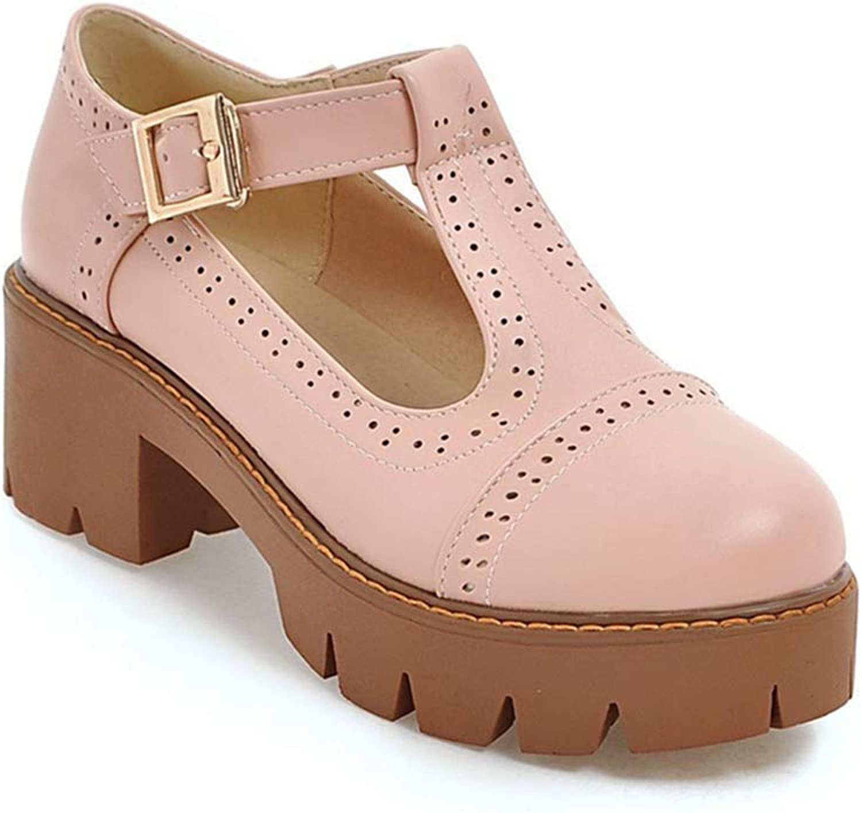 Bonrise Women's T-Strap Platform Oxford Pumps Mary Jane Round Toe Chunky Mid Heel Vintage Dress Oxfords shoes