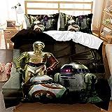 Amacigana Juego de ropa de cama 3D Star Wars con cremallera, funda nórdica con 3 piezas, 1 funda nórdica y 2 fundas de almohada, para niños y niñas (A9,135 x 200 cm + 50 x 75 cm)