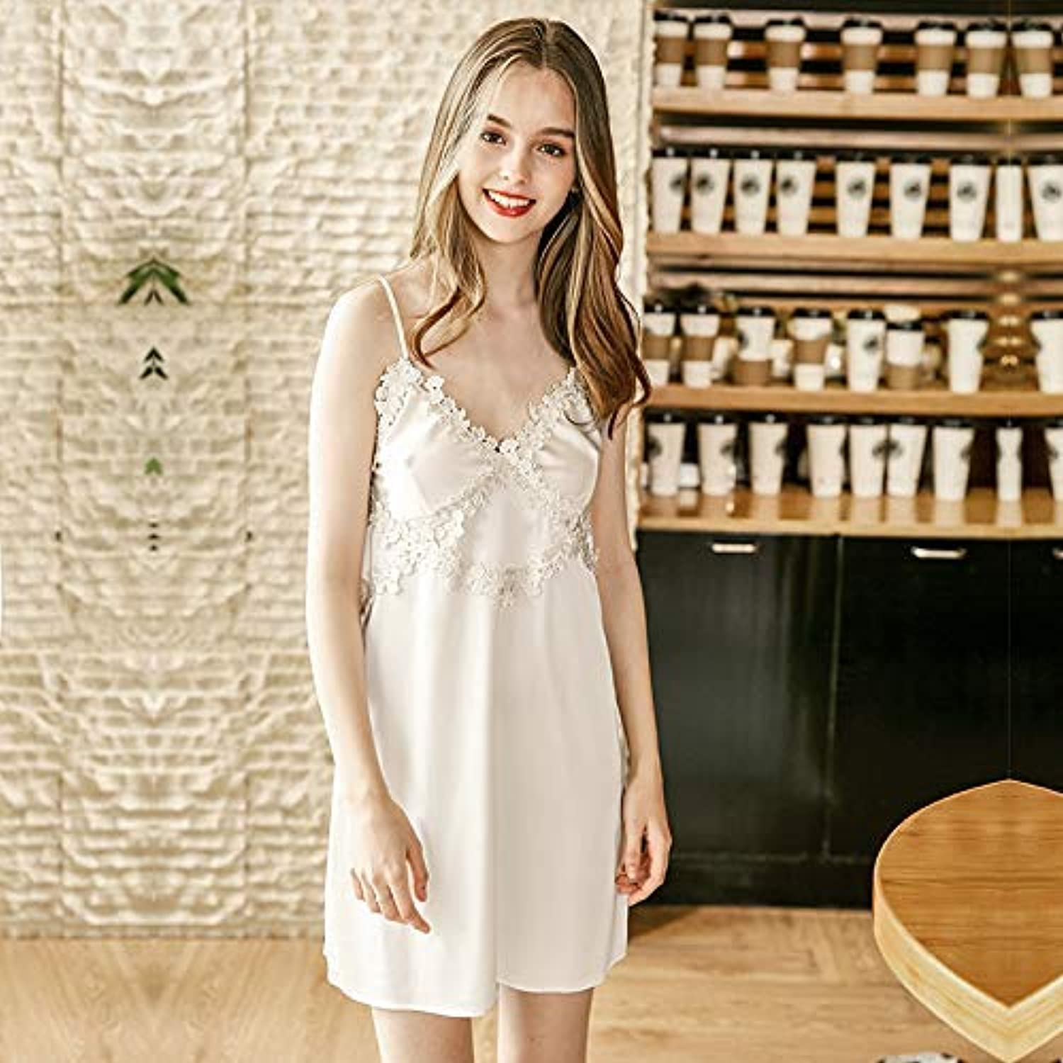 Nightshirt, Simulation Silk Sexy Nightdress Ladies Summer Sexy lace Home Service (color   White, Size   M) (color   White, Size   Medium)