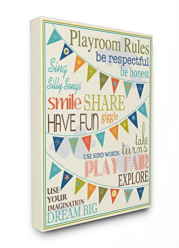 Stupell Industries Playroom Rules with Pennants in Blue Canvas Wall Art, 16 x 20, Design by Artist Karen Zukowski (Finny and Zook)