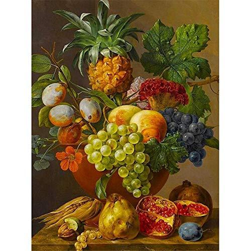 YSLTTY Pintura De La Pintura Al Óleo De DIY por El Kit del Número Que Dibuja El Florero De La Fruta De La Puntada Sin Marco 40cmx50cm