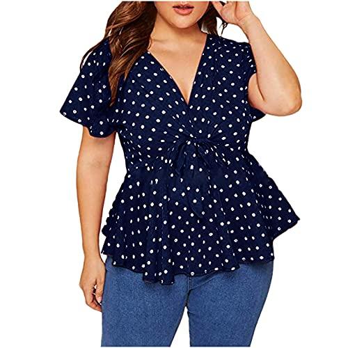 AMhomely Blusa de manga corta con cuello en V y dobladillo plisado para mujer, talla grande, para mujer