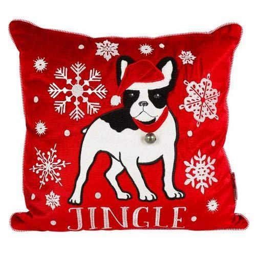 Punch Studio French Bulldog Jingle Holiday Snowflake Throw Pillow