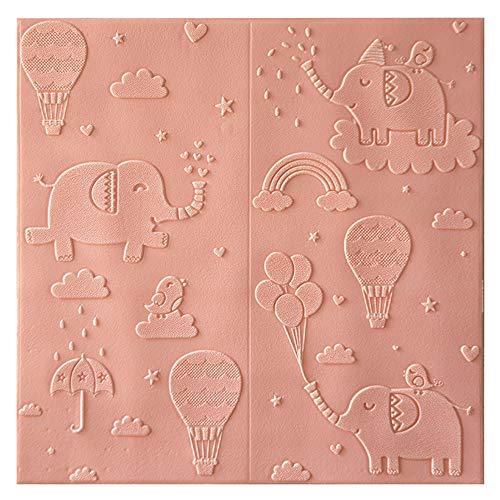 H&RB PE-Schaum-Wand-Paneele, Nette Karikatur-Self-Adhesive Wandaufkleber Für Schlafzimmer Baby-Raum Kinderzimmer Wohnzimmer 70 X 70Cm,Rosa,10PCS