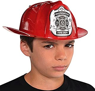 "Amscan 841658 Red Fireman Hat for Children, 1 Piece, 11"" x 9.2"""