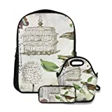 Conjunto de mochila escolar,Jaula y pájaros franceses vintage modernos,con bolsa de almuerzo y estuche para lápices para mochila para adolescentes