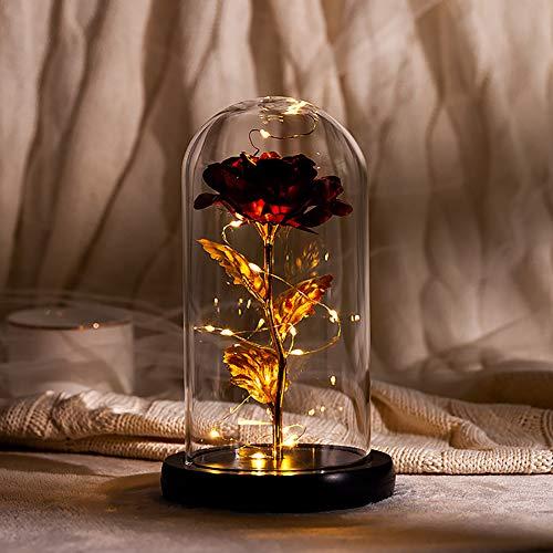 Die Schöne und das Biest Rose, Kunstliche Ewige Rose mit LED-Licht in der Glasglocke und Holzsockel, Plastik Rose Haus Dekoration Geschenk für Frauen Mädchen Geburtstag Hochzeit Weihnachten
