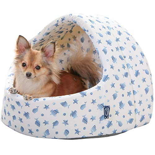 アイリスオーヤマ ペット用クールドームベッド ホワイト/ブルー M サイズ