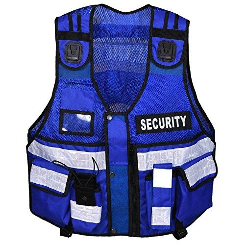 Gilet haute visibilité tactique - Pour maintien de l'ordre, sécurité, maître-chien, caméra de surveillance, bleu