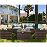 AQUILLA Outdoor 5 Pieces Patio Furniture, 32-inch 40000 BTU Square Wicker Fire Table w Wind Guard Glass for Garden