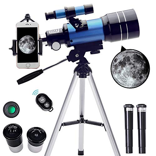 ToyerBee Telescope for Kids&Beginners, 70mm Aperture 300mm Astronomical Refractor Telescope(15X-150X), Portable Travel Telescope for Adult with A Finder Scope, A Phone Adapter& A Wireless Remote