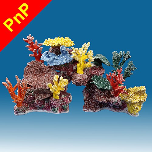 Instant Reef DM045PNP Large Artificial Coral Inserts Decor, Fake Coral Reef Decorations for Colorful Freshwater Fish Aquariums, Marine and Saltwater Fish Tanks