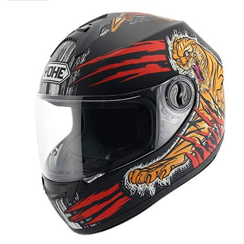 SMC Casque Moto Casque Hommes Et Femmes Casque Complet Pleine Couverture Hiver Protection Au Soleil Casque De Voiture Électrique (Color : B, Taille : L)