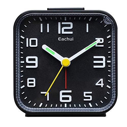 Eachui Analog Wecker Klein mit Lauter Alarm, Nachtlicht, Schlummerfunktion, Ohen Ticken, geräuschlos, Batteriebetrieben, Einfache Bedienung (Schwarz)