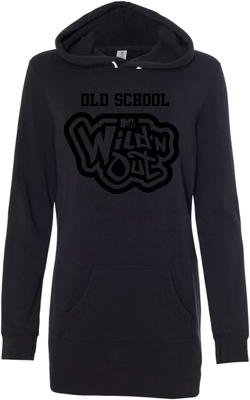Wild 'N Out Black on Black Old School Women's Hooded Sweatshirt Dress