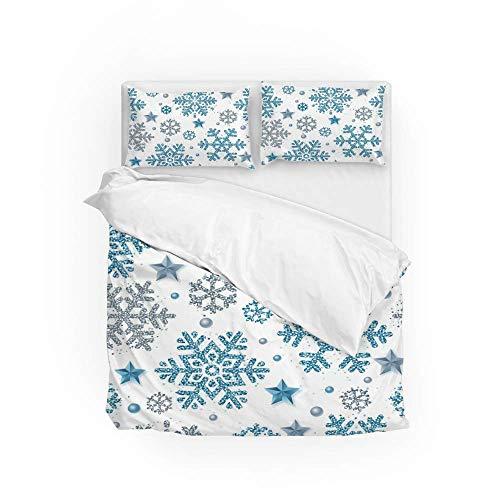 161 Soft Quilt Bedding Set Bling Snowflake Duvet Cover with 2 Pillowcases Set 3 PCS 200 x 200 CM, Double Size