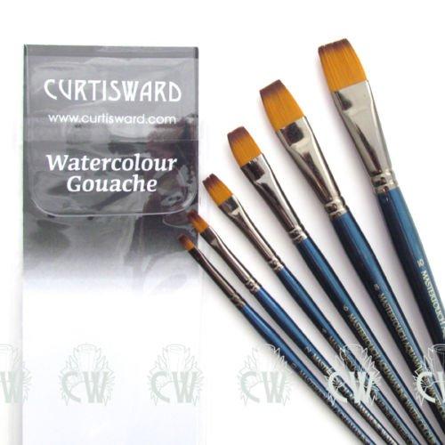 Juego de pinceles planos para acuarelas, set de 6 pinceles, de la marca Curtisward, colección Mastertouch Aquamarine