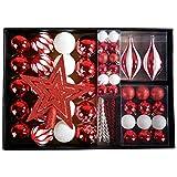 YILEEY Boules de Noel Decoration Sapin Noel Blanc et Rouge 68 Pièces en 10 Types, Boîte de Boules de Noël en Plastique Incassable avec Cintre, Ornements Décoratifs Pendentifs Cadeaux