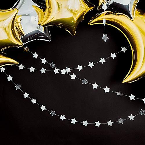 Party Deco Star Garland Silver - Lámina de espejo (3,6 m), diseño navideño