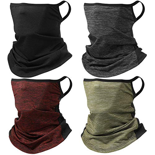4 Pieces Bandanas Face Scarf Ear Loops Face Rave Cover Balaclava Neck Gaiter for Women Men Outdoors Sports (Mixed Colors)