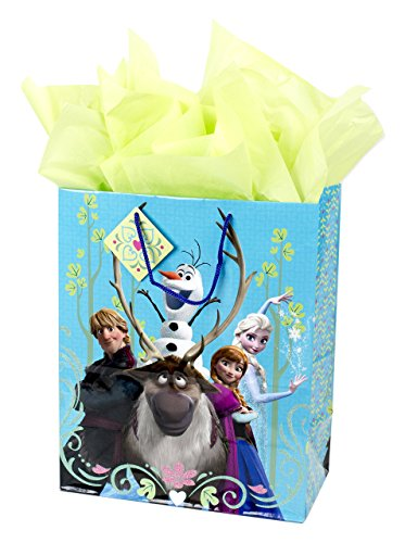 "Hallmark 13"" Large Frozen Gift Bag with Tissue Paper (Anna, Elsa, Kristoff, Olaf, Sven) for Birthdays, Kids Parties, Holidays or Any Occasion"