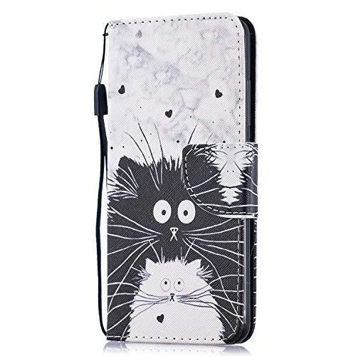 Funluna Hülle für Xiaomi Mi 8 Lite, Lederhülle Stoßfest Klapphülle Brieftasche, Trageschlaufe, Ständer, Kartenfächer, Magnetverschluss Handy Shell für Xiaomi Mi 8 Lite, Schwarze Katze