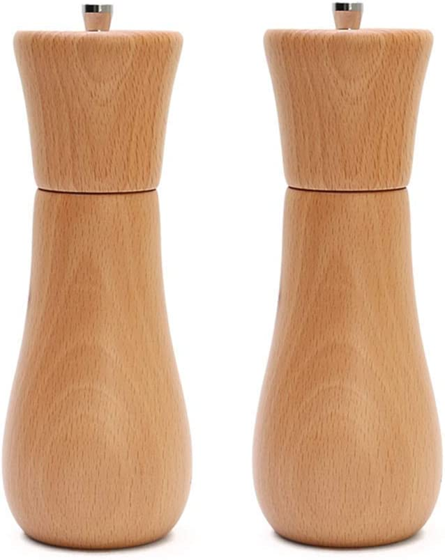 FMOGE Salt and Shipping included Pepper Adjustable Wooden Popular Manual Grinder