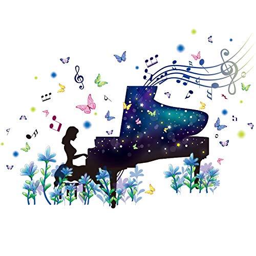 Dibujos animados etiqueta de la pared del piano Muchacha del árbol del copo de nieve y ciervos, Vinilo extraíble Inicio del mural del arte, por Corredor del sitio del bebé de la muchacha y la decoraci