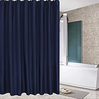 Eforcurtain Standard Size Solid Fabric Shower Curtain Mildew-resistant and Waterproof Shower Curtain Set with Plastic Hooks,72 By 72-inches, Navy Blue