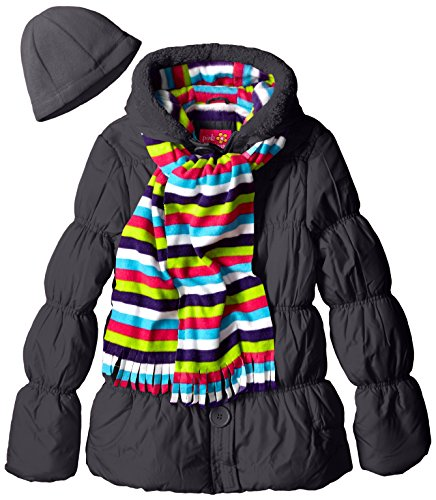 Pink Platinum Girls' Puffer Coat with Stripe Scarf and Hat