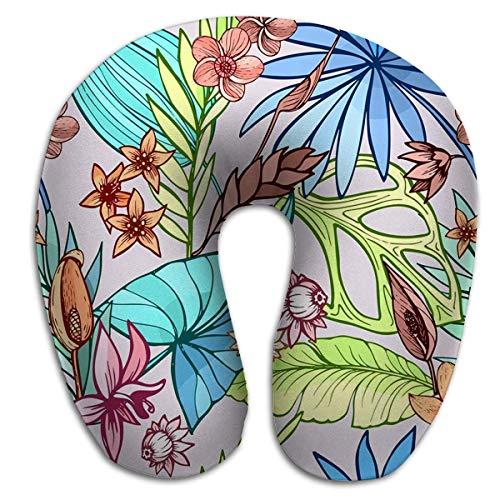 Runde U-förmige Nahtlose schöne künstlerische helle Tropische Muster Banane Syngonium Dracaena Blatt Sommer Strand Spaß Bunte elektrische