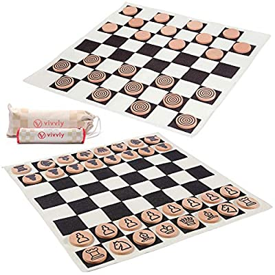 VIVVLY Giant Checkers Game for Kids and Adults. The Only Jumbo Checkers Board Game for Adults and Kids Designed for Giant Chess, Indoor Outdoor Checkers, Tic Tac Toe and a MEGA Tic Tac Toe Game.
