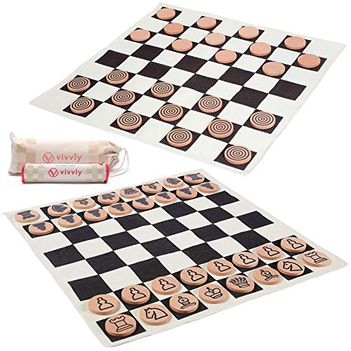 VIVVLY 4-in-1 Giant Checkers Game for Kids. Giant Chess Set for Kids & Jumbo Checkers Game Rug. Giant Chess Checkers Board Game for Adults with 2 Giant Tic Tac Toe Games