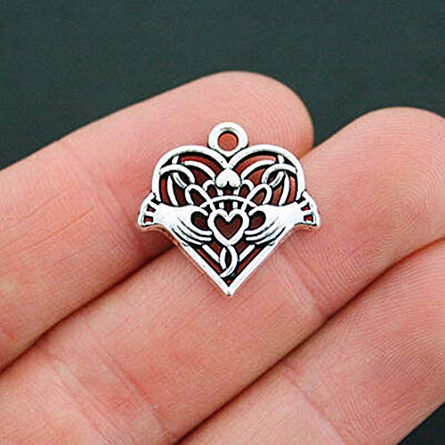 2 Celtic Heart Charms Antique Silver Tone Heart and Hands Claddagh for Pendant Bracelet DIY Jewelry Making