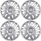16 inch Hubcaps Best for 2013-2016 Nissan Leaf - (Set of 4) Wheel Covers 16in Hub Caps Silver Rim Cover - Car Accessories for 16 inch Wheels - Snap On Hubcap, Auto Tire Replacement Exterior Cap