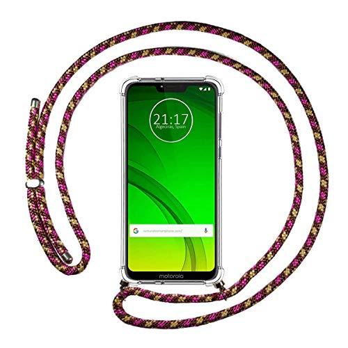 Funda Colgante Transparente para Motorola Moto G7 Power con Cordon Rosa/Dorado