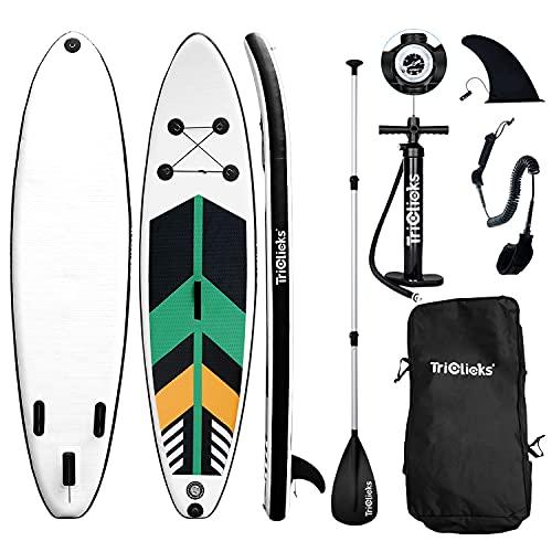 Triclicks Tabla Hinchable Paddle Surf/Sup Paddel Surf con Bomba, Mochila, Aleta Central Desprendible, Kit de Reparación, Remo Ajustable, La Cinta para Atar al Pie(300 * 75 * 15cm-Grosor) (Style 3)
