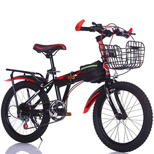 TXTC Bicicletta Bambini Bici Pieghevole 6-7-8-10-12 Year Old Biciclette for Bambini Scuola Elementare del Ragazzo della Ragazza Mountain Bike, 18 Pollici Ruote for Bambini Articoli da Regalo