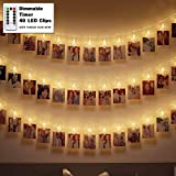 LED Lichterkette Außen Batterie 40 Fotoclips Innen mit Fernbedienung Outdoor Warmweiß Wasserfest