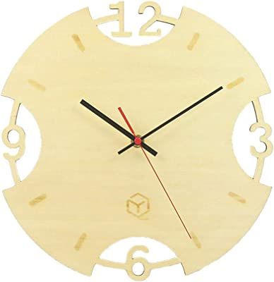 Vosarea Simple Mute Wooden Wall Clock Round Quartz Clock for Home Without Battery