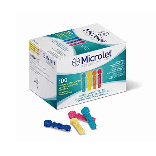100x MICROLET® Lanzetten, Nadeln Blutzucker Blutlanzetten, farbig, silikon