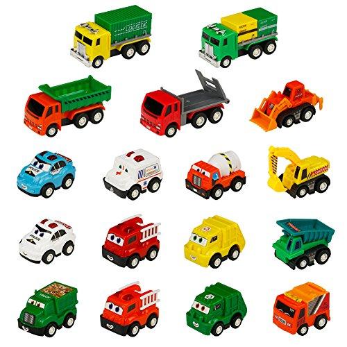 MJ Toy Car Construction Vehicles Trucks Mini Pull Back Go Car for Egg Filler Play Set Toys for Kids Boys Girls 3 Years Old 17PCS