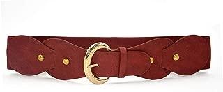uxcell Women Single Pin Buckle PU Panel Elastic Waist Belt