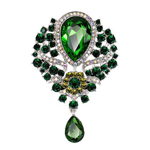 YAZILIND Delicada Lily Flor incrustados Rhinestones aleación Zirconia Colgante Broche Mujer niñas Accesorios (Verde)