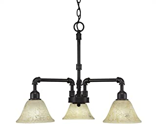 Toltec Lighting 283-DG-508 Vintage 3 Light Chandelier with Italian Marble Glass 7
