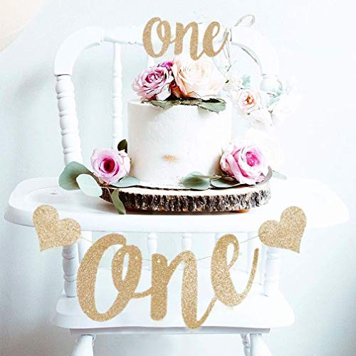 Mini Things 1st First Birthday Decoration Set One High Chair Banner and One Cake Topper (Copper)