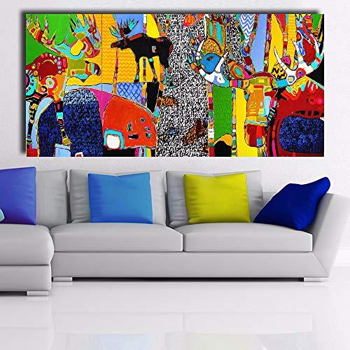 mmzki Moderne abstrakte leinwand Kunst Leben im Wald wandbilder für Wohnzimmer Bilder wohnkultur d 60x150 cm