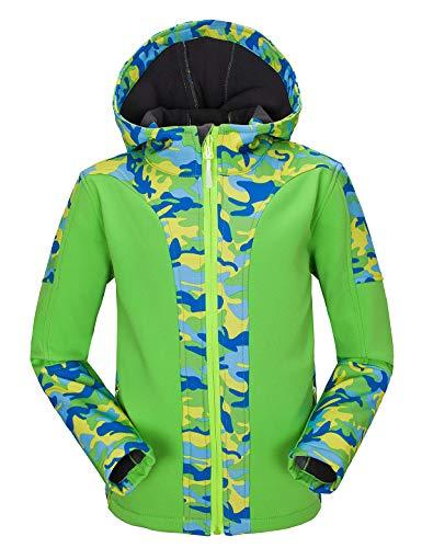 Echinodon Kinder Softshelljacke warm wasserdicht Winddicht atmungsaktiv Mädchen Jungen Jacke mit Fleecefütterung Übergangsjacke Grün