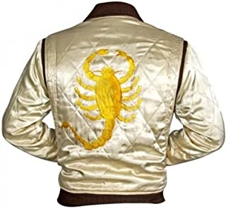 Superior Leather Garments Drive Trucker White with Golden Embroidery Scorpion Jacket